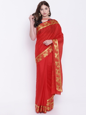 Chhabra 555 Red Woven Art Silk saree with blouse
