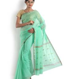 Sea Green Hand Woven Cotton Silk Saree With Blouse
