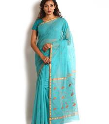Blue Hand Woven Cotton Silk Saree