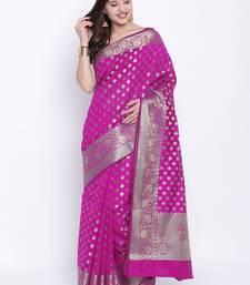 Buy Chhabra 555 Magenta Woven Art Silk saree with blouse art-silk-saree online