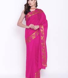 Buy Chhabra 555 Pink Woven Art Silk saree with blouse art-silk-saree online