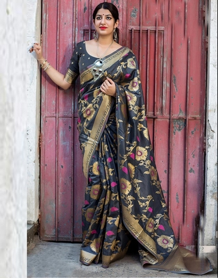 Grey woven banarasi art silk saree with blouse