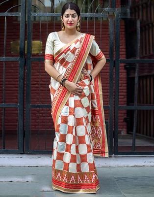 Off white woven banarasi art silk saree with blouse
