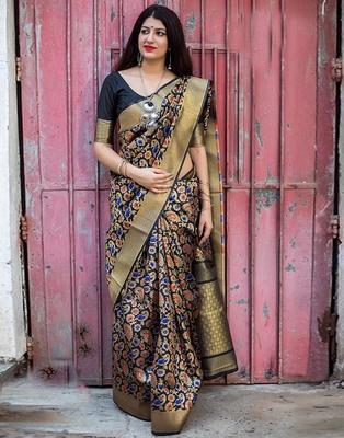 Black woven banarasi art silk saree with blouse