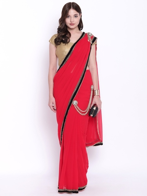 Chhabra 555 Red Plain Poly Georgette saree with blouse