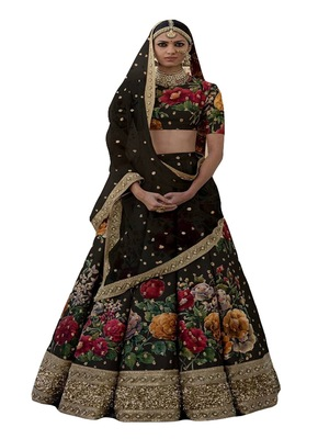 black embroidered art silk semi stitched lehenga