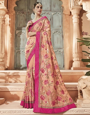 Peach embroidered silk saree with blouse
