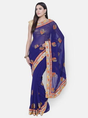 Chhabra 555 Blue Embroidered Poly Georgette saree with blouse