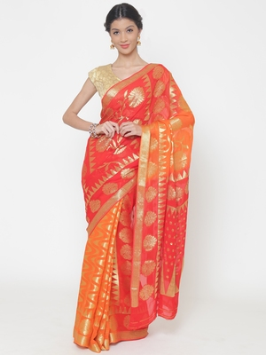 Chhabra 555 Orange Woven Poly Georgette saree with blouse