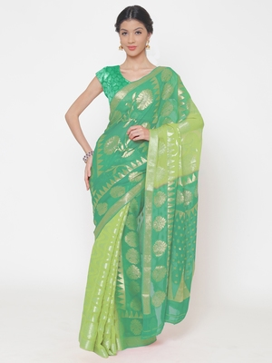 Chhabra 555 Green Woven Poly Georgette saree with blouse