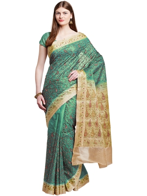 Chhabra 555 Green Embroidered Art Silk saree with blouse