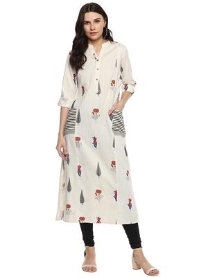 Off-white printed khadi cotton kurtis