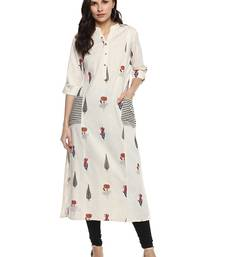 Off-white printed khadi cotton kurtis
