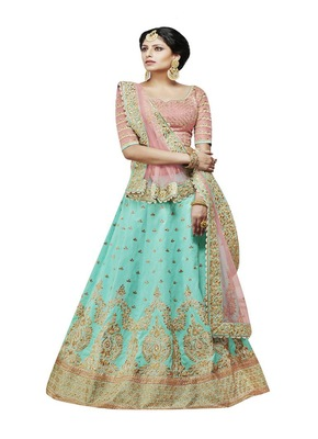 Sky Blue  Embroidered Handloom Silk Lehenga With Dupatta