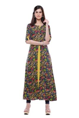 Multicolor printed rayon ethnic-kurtis