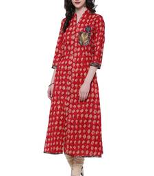 Red embroidered cotton kurtis