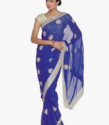 Buy Chhabra 555 Blue Embroidered Poly Georgette saree with blouse georgette-saree online
