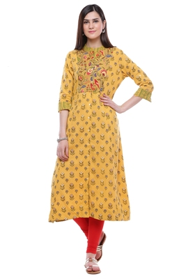 Yellow printed khadi cotton kurtis