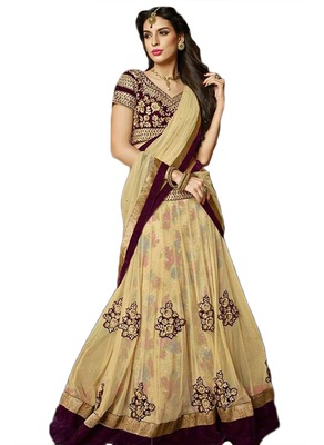 Multicolor Net And Dupatta Net Embroidered Work Unstitched Lehenga Choli