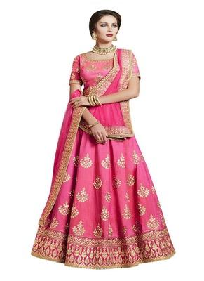 Pink Embroidered Handloom Silk Lehenga With Dupatta