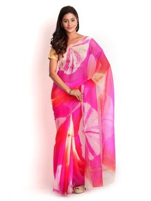Magenta Printed Silk Saree With Blouse