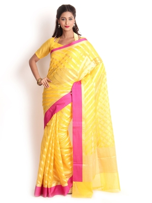 Yellow Hand Woven Cotton Silk Saree With Blouse