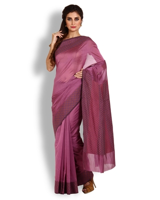 Wine Hand Woven Dupion Silk Saree With Blouse