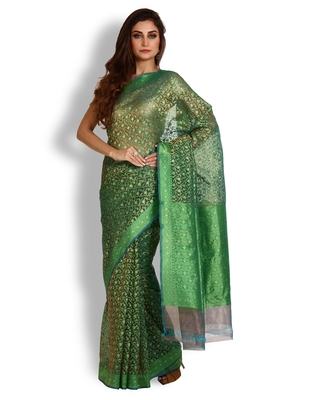 Green Hand Woven Organza Saree With Blouse