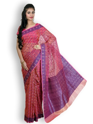 Pink Hand Woven Organza Saree With Blouse