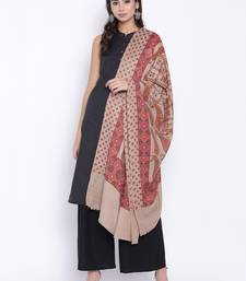 Buy Chhabra 555 Beige Printed Long Woolen Stole Shawl with Paisley motifs stole-and-dupatta online