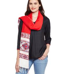 Buy Chhabra 555 Red & White Woven Woolen Stole Shawl With Tassles stole-and-dupatta online