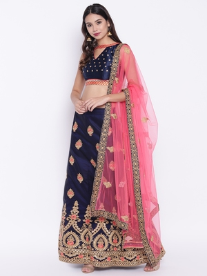 Chhabra 555 Blue Silk Zari Embroidered Semi Stitched Lehenga Choli with Pink Dupatta