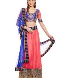 Buy Chhabra 555 Pink & Blue Net Embroidered Semi Stitched Lehenga Choli With Dupatta lehenga-choli online