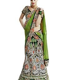 multicolor Velvet  and Dupatta- Net Embroidered Work unstitched lehenga-choli