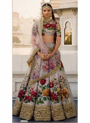 Beautiful Grey Colored Floral Print Partywear Designer Embroidered Art Silk Lehenga Choli Dupatta Set