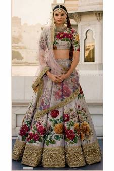 2e95e4940111b Beautiful Grey Colored Floral Print Partywear Designer Embroidered Art Silk Lehenga  Choli Dupatta Set