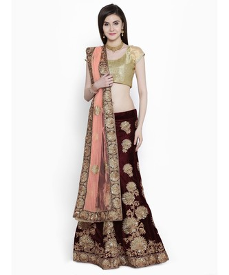 ed3096ddf6 Chhabra 555 Purple Wine Velvet Embellished Semi Stithed Lehenga Choli With  Dupatta - Chhabra 555 - 2744364