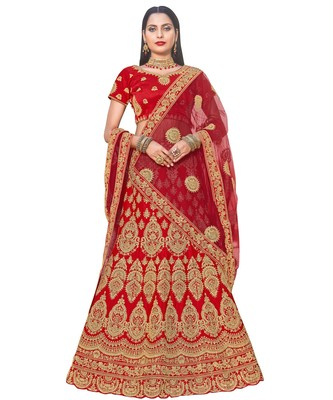 Chhabra 555 Gold & Red Satin Heavy Zari Embroidery Semistitched Lehenga Choli With Net Dupatta