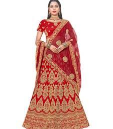Buy Chhabra 555 Gold & Red Satin Heavy Zari Embroidery Semistitched Lehenga Choli With Net Dupatta lehenga-choli online