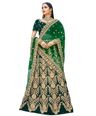 Chhabra 555 Green Heavy Zari Embroidered Velvet Semi Stitched Lehenga Choli With Net Dupatta.