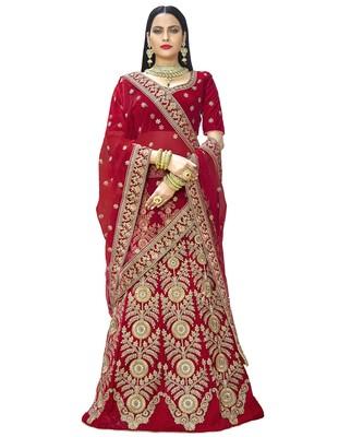 Chhabra 555 Red Velvet  Heavy Zari &Embroidered Semi Stiched Lehanga Choli With Net  Dupatta
