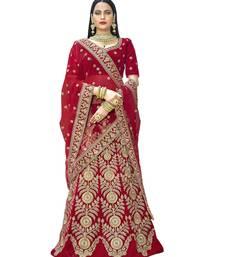 Buy Chhabra 555 Red Velvet  Heavy Zari &Embroidered Semi Stiched Lehanga Choli With Net  Dupatta lehenga-choli online