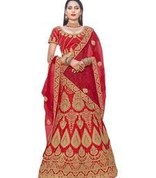 Buy Chhabra 555 Red Heavy Zari Embroidered Velvet Semi Stitched Lehenga Choli With Net Dupatta. lehenga-choli online