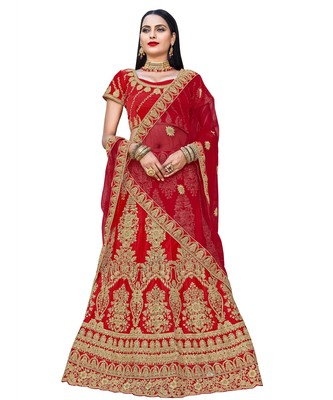 Chhabra 555 Red Satin Zari Embroidery Semi Stitched Lehenga Choli With Net Dupatta