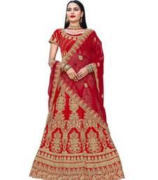 Buy Chhabra 555 Red Satin Zari Embroidery Semi Stitched Lehenga Choli With Net Dupatta lehenga-choli online
