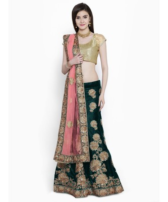 Chhabra 555 Green Velvet Heavy Zari Embroidered Semi Stitched Lehenga Choli With Dupatta