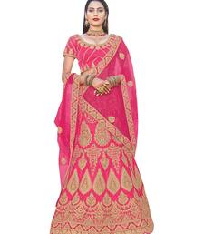 Buy Chhabra 555 Pink Satn Heavy Zari & Embroidered Semi Stitched Lehenga Choli With Net Dupatta lehenga-choli online