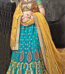 sea green embroidered net unstitched lehnga choli
