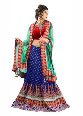 Designer Net Fabric  Red Colored Embroidered Lahenga Choli