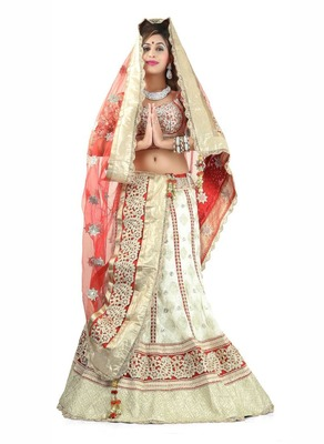 Designer Net Fabric  Beige Colored Embroidered Lahenga Choli